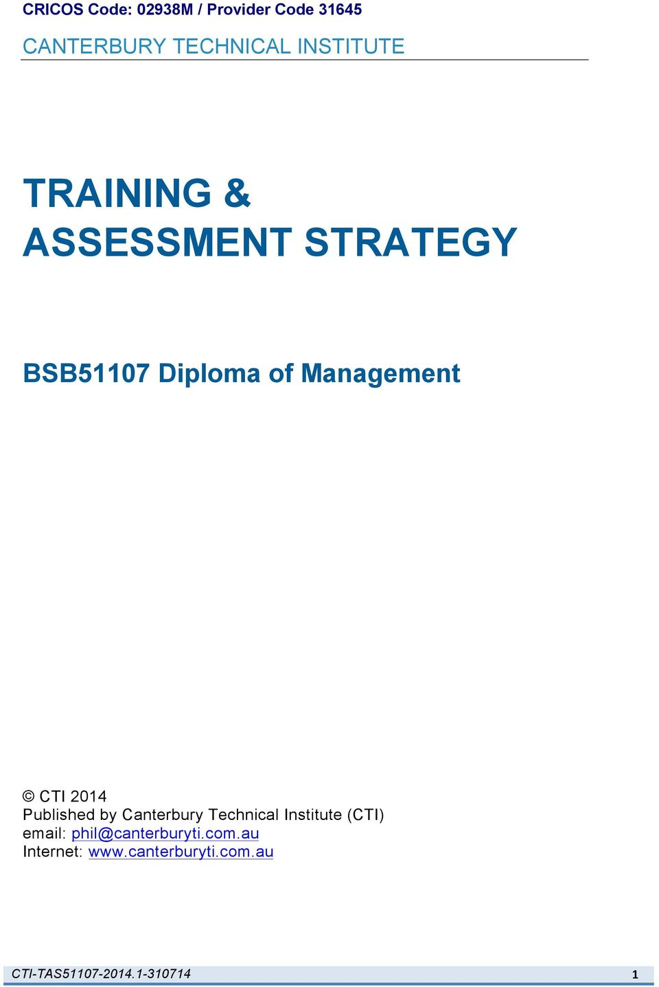 BSB51107 Diploma of Management CTI 2014 Published by