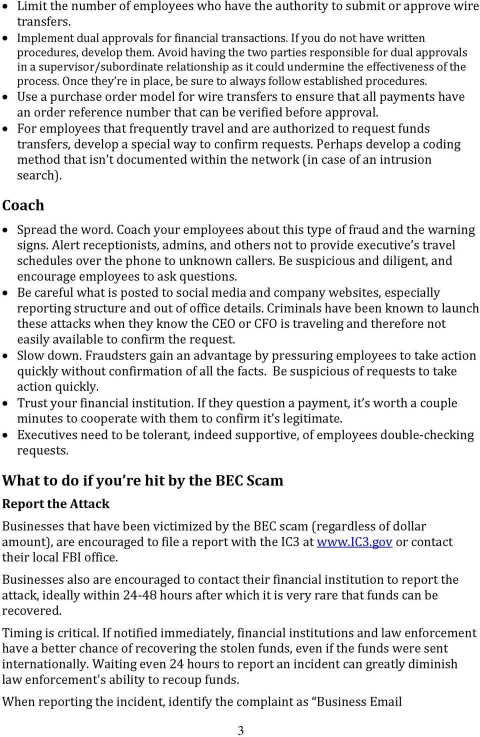 Business Compromise Scam Pdf Everbank Wiring Instructions Once They Re In Place Be Sure To Always Follow Established Procedures