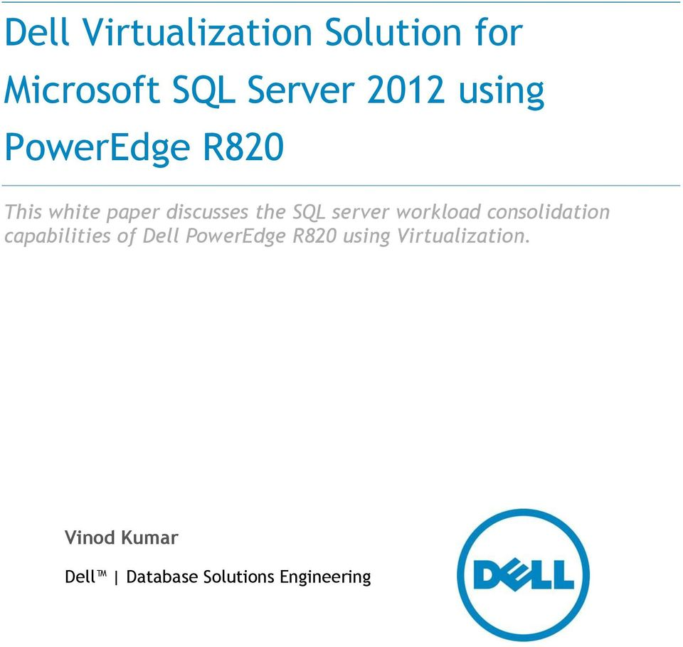 workload consolidation capabilities of Dell PowerEdge R820