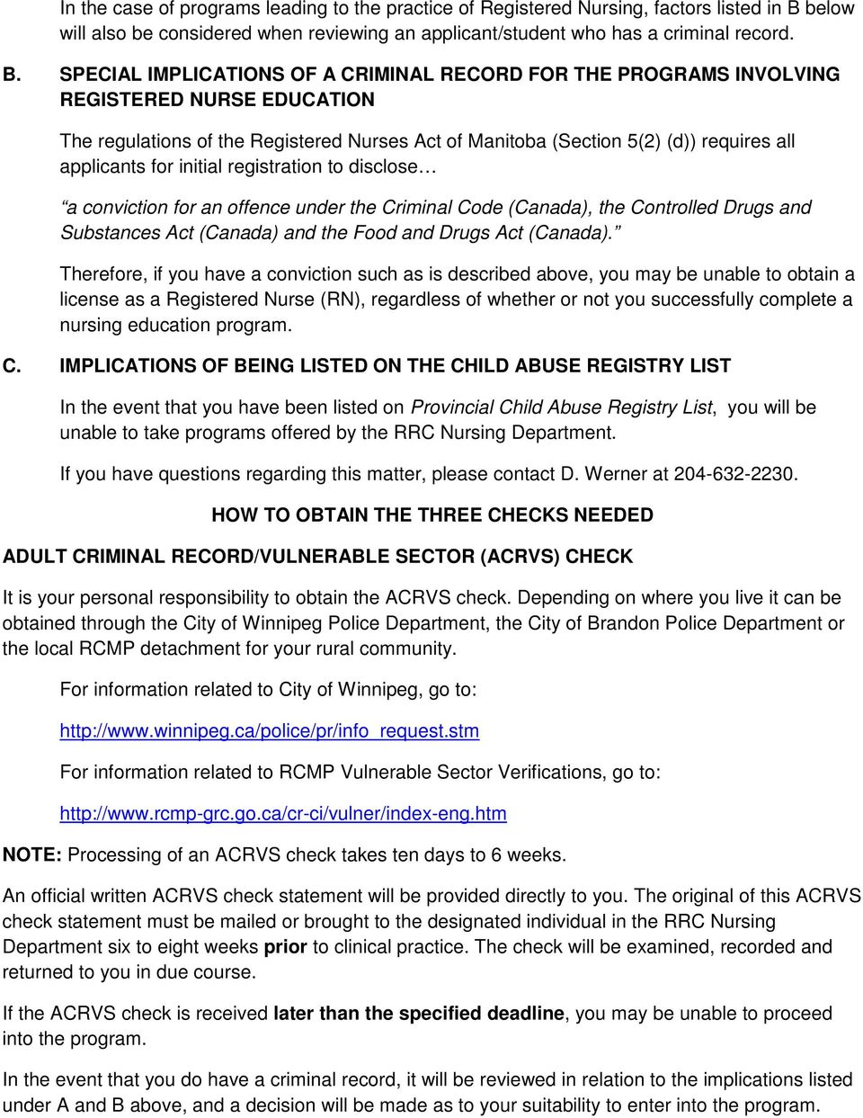 Adult Criminal Record/Vulnerable Sector (ACRVS) Check