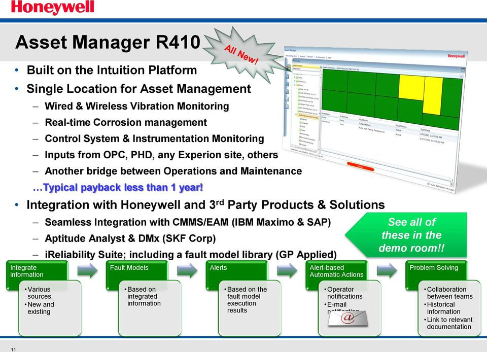 Integration with Honeywell and 3 rd Party Products & Solutions Seamless Integration with CMMS/EAM (IBM Maximo & SAP) Aptitude Analyst & DMx (SKF Corp) ireliability Suite; including a fault model