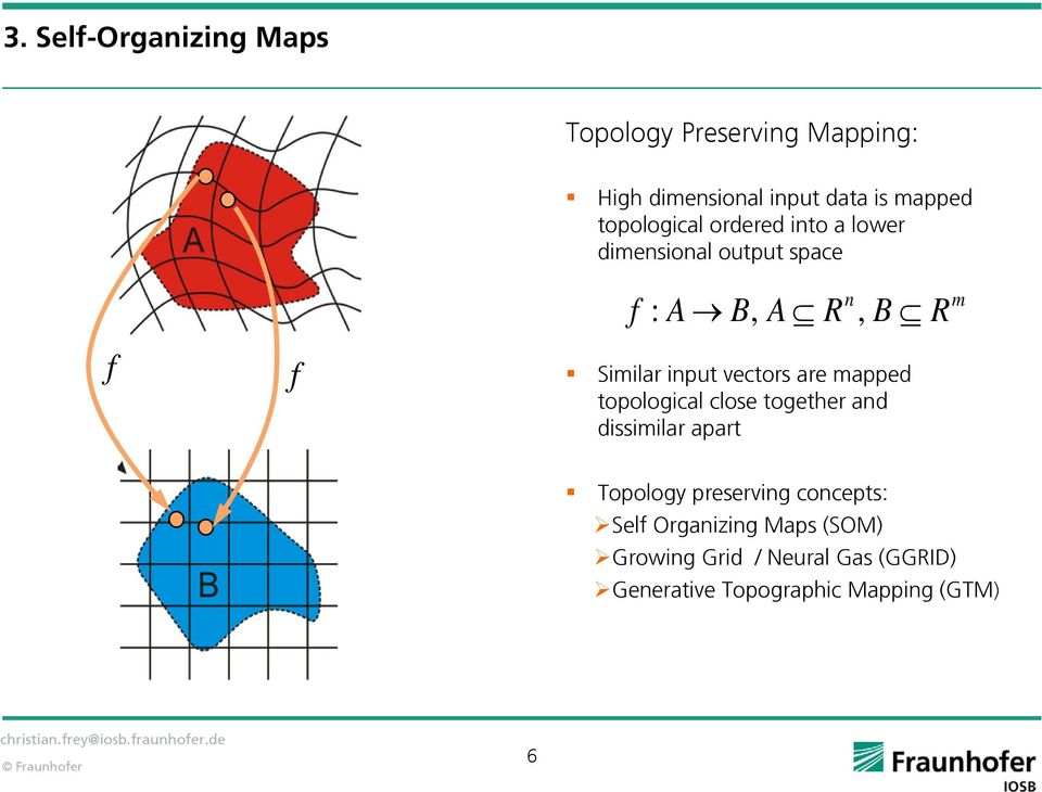 input vectors are mapped topological close together and dissimilar apart Topology preserving