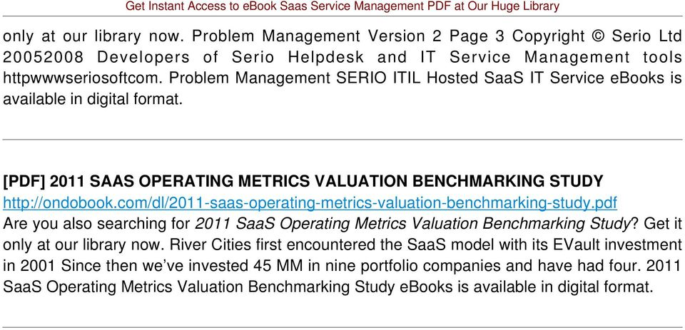 com/dl/2011-saas-operating-metrics-valuation-benchmarking-study.pdf Are you also searching for 2011 SaaS Operating Metrics Valuation Benchmarking Study? Get it only at our library now.