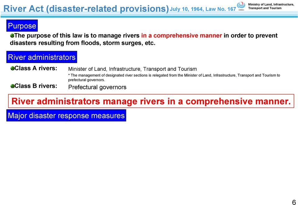 River administrators Class A rivers: Class B rivers: Major disaster response measures Minister of Land, Infrastructure, * The management of designated river sections is relegated from the Minister of