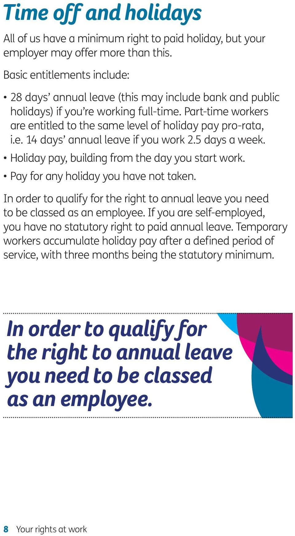 5 days a week. Holiday pay, building from the day you start work. Pay for any holiday you have not taken. In order to qualify for the right to annual leave you need to be classed as an employee.
