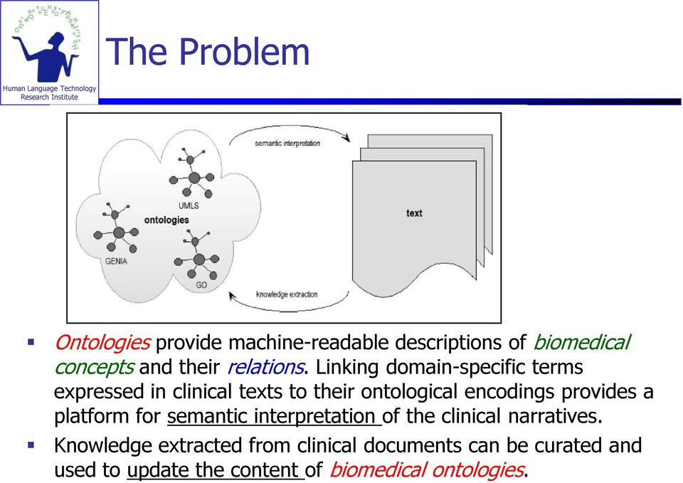 Linking domain-specific terms expressed in clinical texts to their ontological encodings