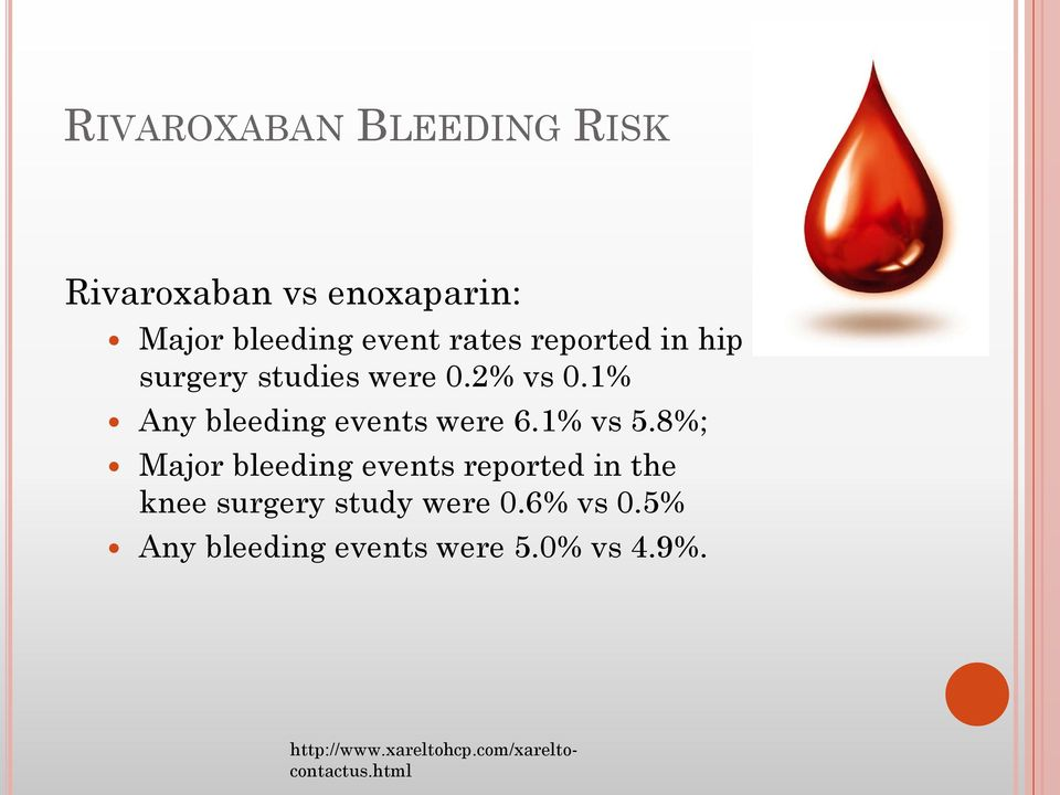 1% vs 5.8%; Major bleeding events reported in the knee surgery study were 0.