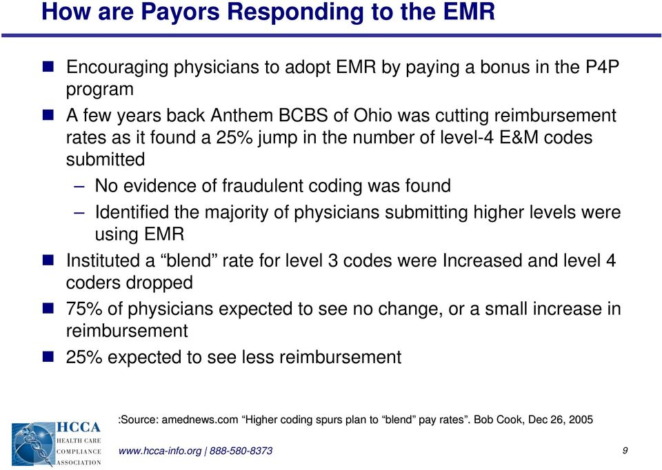 levels were using EMR Instituted a blend rate for level 3 codes were Increased and level 4 coders dropped 75% of physicians expected to see no change, or a small increase in