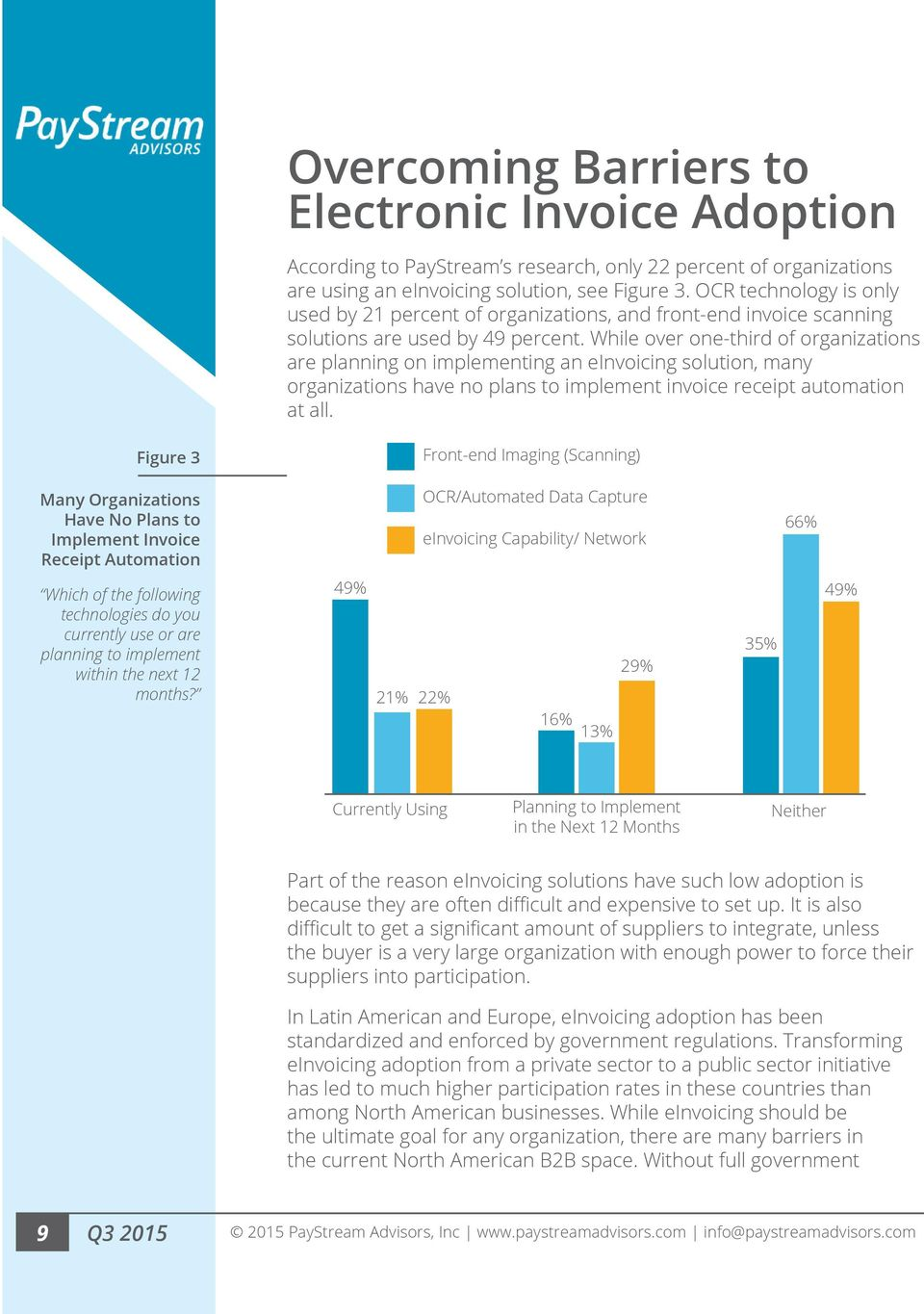 While over one-third of organizations are planning on implementing an einvoicing solution, many organizations have no plans to implement invoice receipt automation at all.