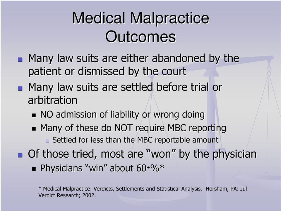 reporting Settled for less than the MBC reportable amount Of those tried, most are won by the physician Physicians win