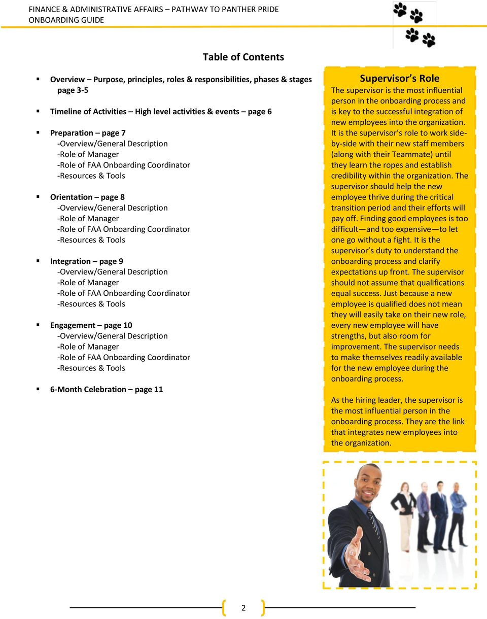 Tools Integration page 9 -Overview/General Description -Role of Manager -Role of FAA Onboarding Coordinator -Resources & Tools Engagement page 10 -Overview/General Description -Role of Manager -Role