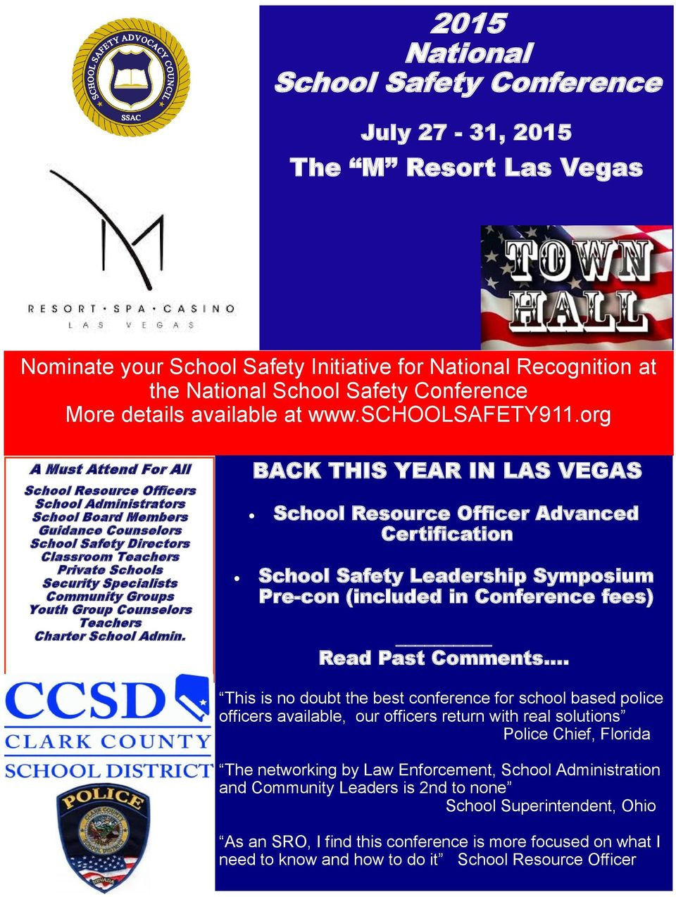 org A Must Attend For All School Resource Officers School Administrators School Board Members Guidance Counselors School Safety Directors Classroom Teachers Private Schools Security Specialists