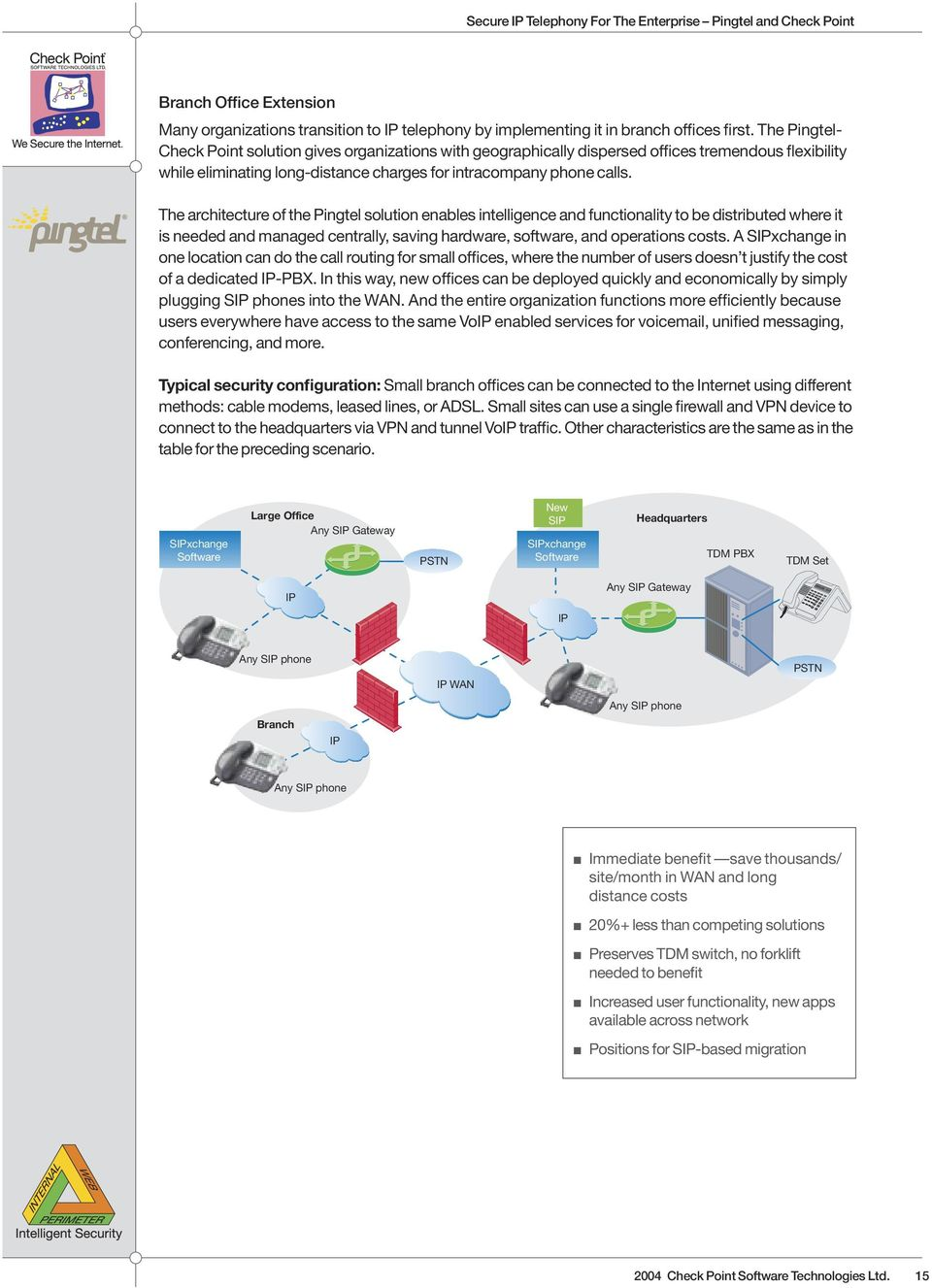 The architecture of the Pingtel solution enables intelligence and functionality to be distributed where it is needed and managed centrally, saving hardware, software, and operations costs.