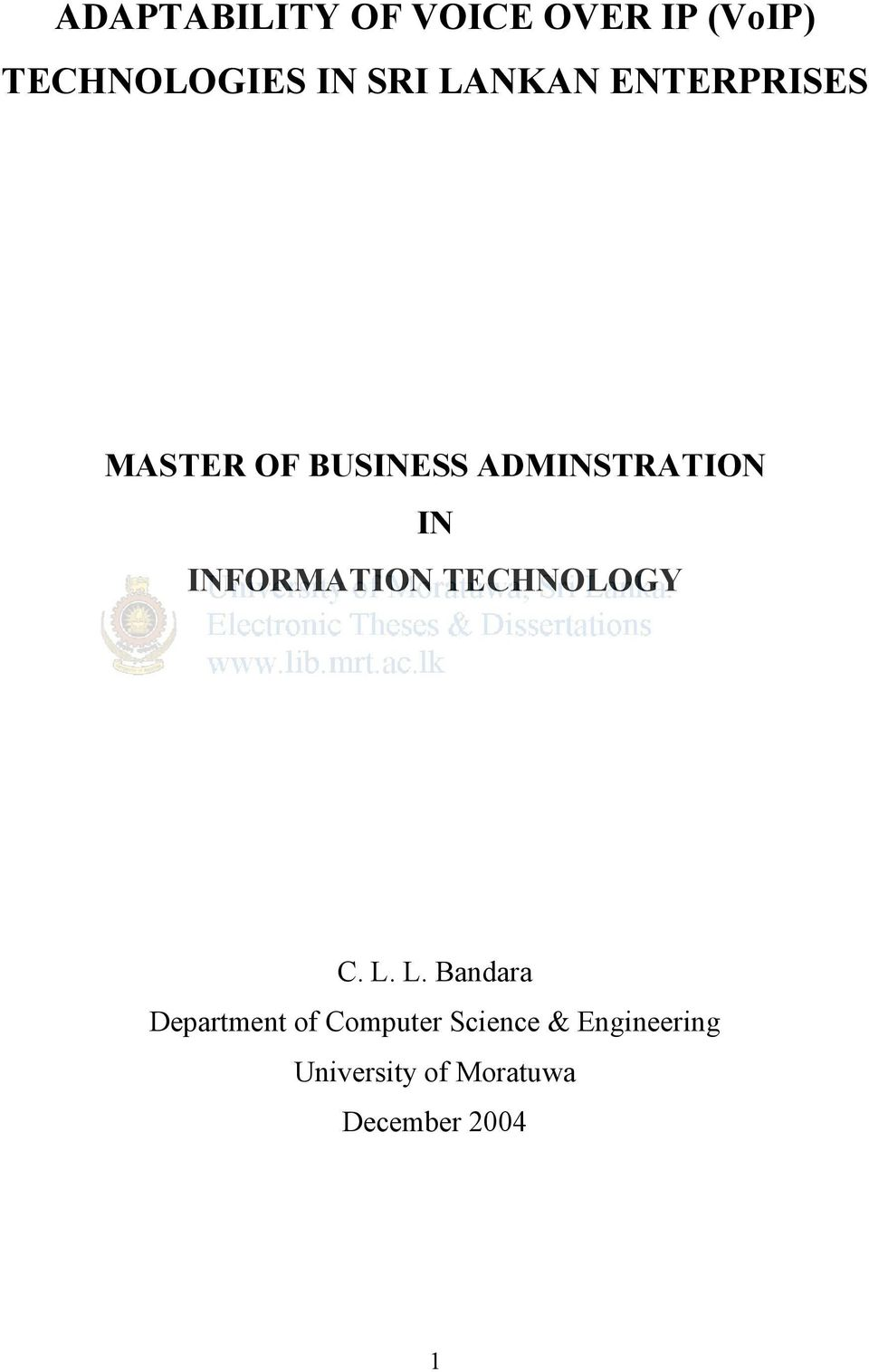 INFORMATION TECHNOLOGY C. L.