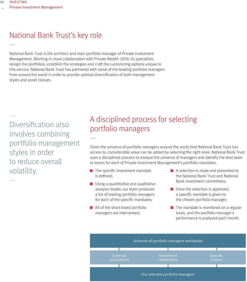 National Bank Trust has partnered with some of the leading portfolio managers from around the world in order to provide optimal diversification of both management styles and asset classes.