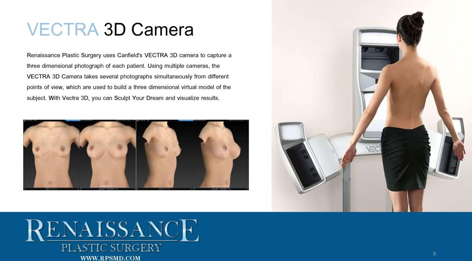 Using multiple cameras, the VECTRA 3D Camera takes several photographs simultaneously from