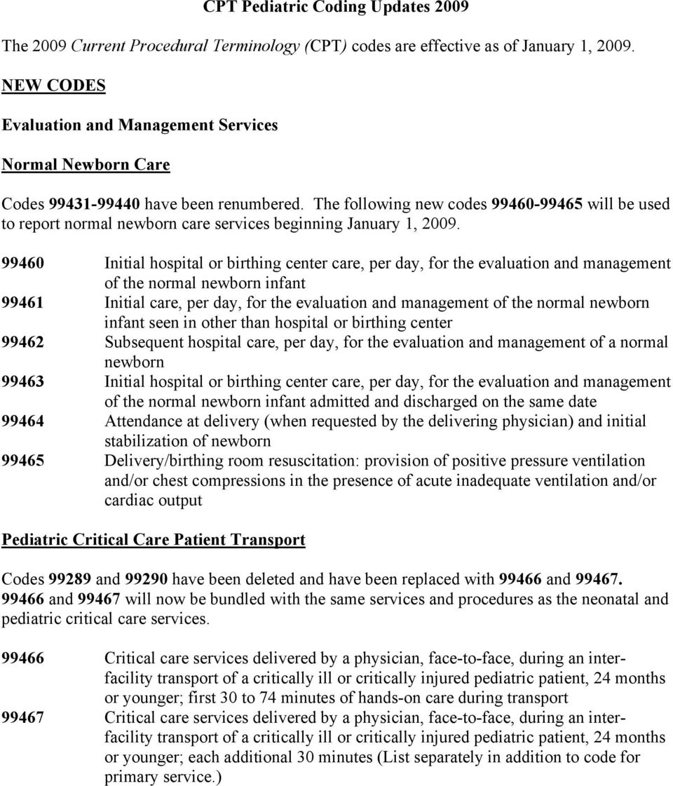 The following new codes 99460-99465 will be used to report normal newborn care services beginning January 1, 2009.