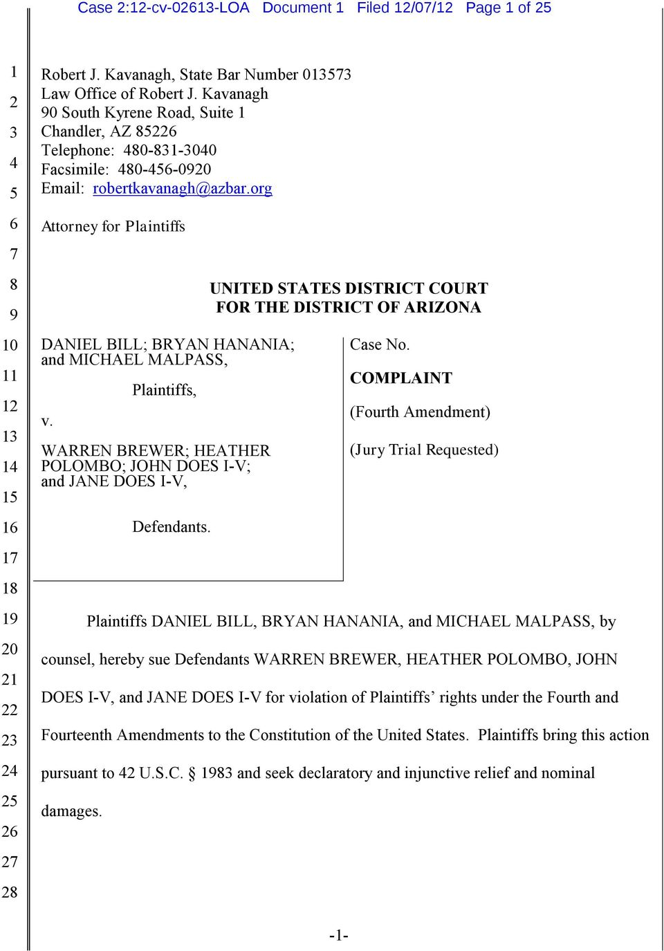 Plaintiffs, UNITED STATES DISTRICT COURT FOR THE DISTRICT OF ARIZONA Case No.