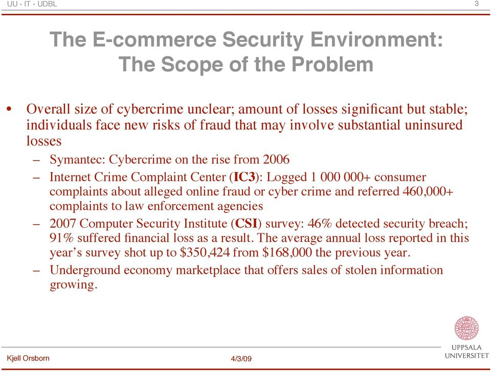 cyber crime and referred 460,000+ complaints to law enforcement agencies 2007 Computer Security Institute (CSI) survey: 46% detected security breach; 91% suffered financial loss as a