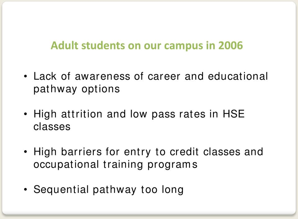 pass rates in HSE classes High barriers for entry to credit