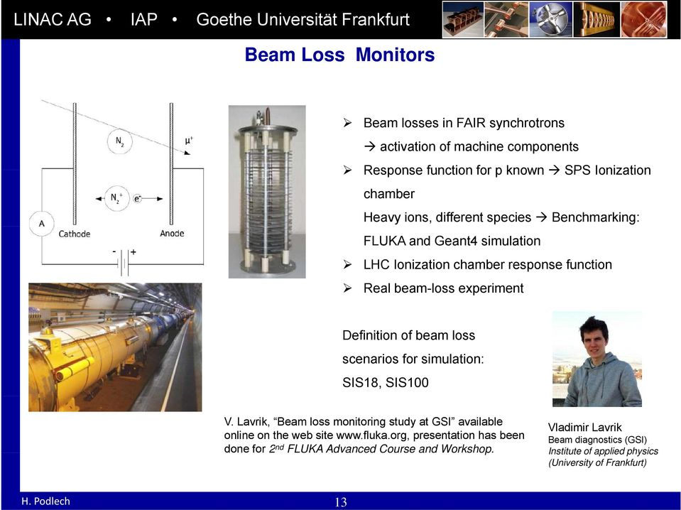 scenarios for simulation: SIS18, SIS100 V. Lavrik, Beam loss monitoring study at GSI available online on the web site www.fluka.