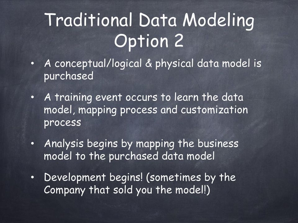 customization process Analysis begins by mapping the business model to the