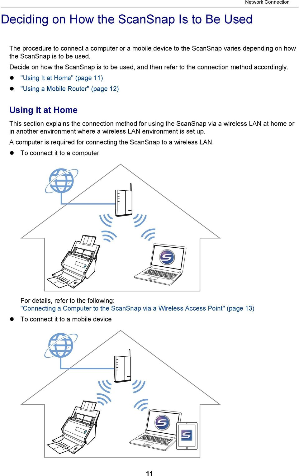 """Using It at Home"" (page 11) ""Using a Mobile Router"" (page 12) Using It at Home This section explains the connection method for using the ScanSnap via a wireless LAN at home or in another"