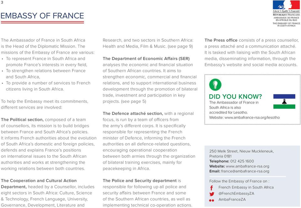 provide a number of services to French citizens living in South Africa.