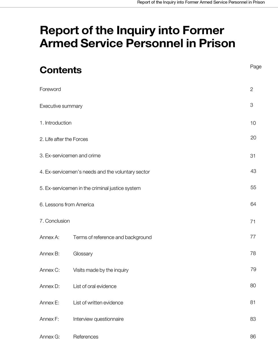 Ex-servicemen in the criminal justice system 55 6. Lessons from America 64 7.