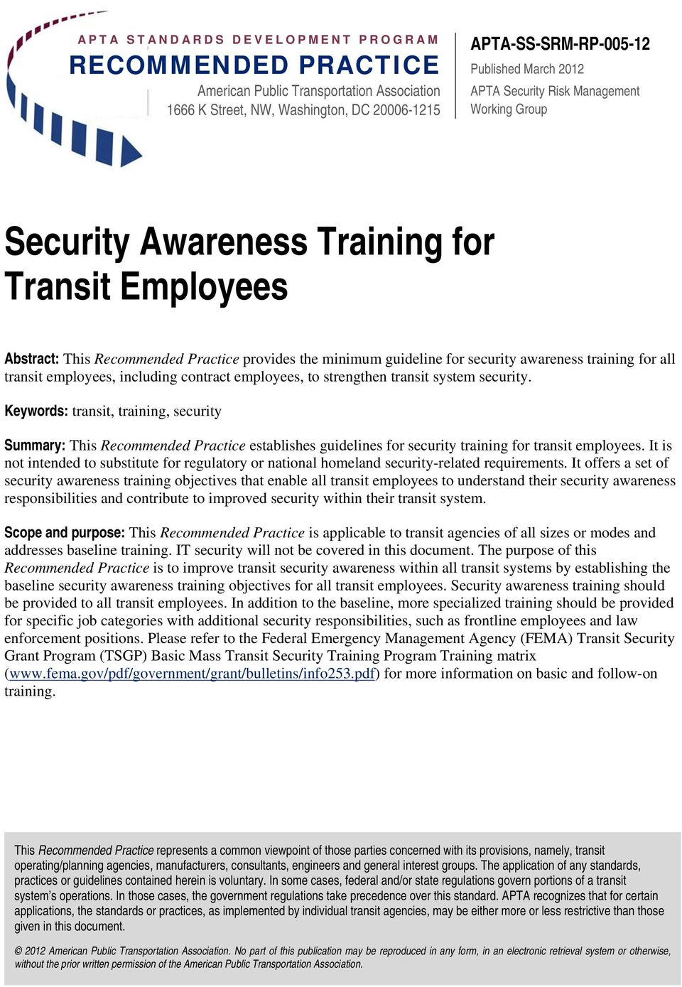transit employees, including contract employees, to strengthen transit system security.