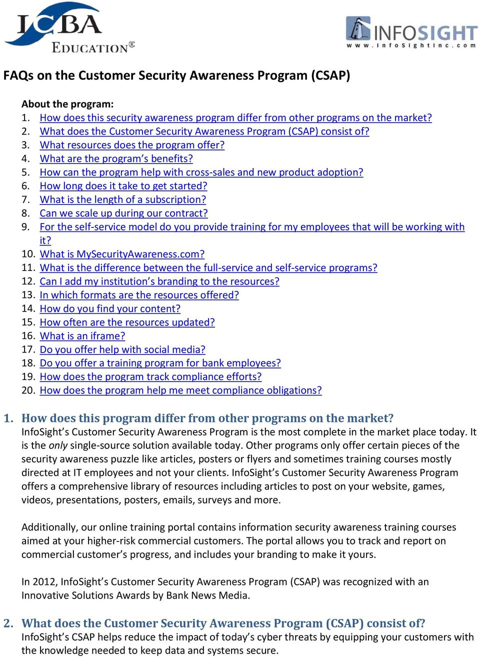 How can the program help with cross-sales and new product adoption? 6. How long does it take to get started? 7. What is the length of a subscription? 8. Can we scale up during our contract? 9.