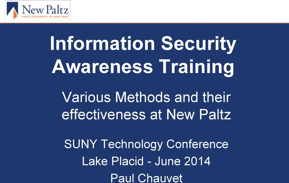 effectiveness at New Paltz SUNY