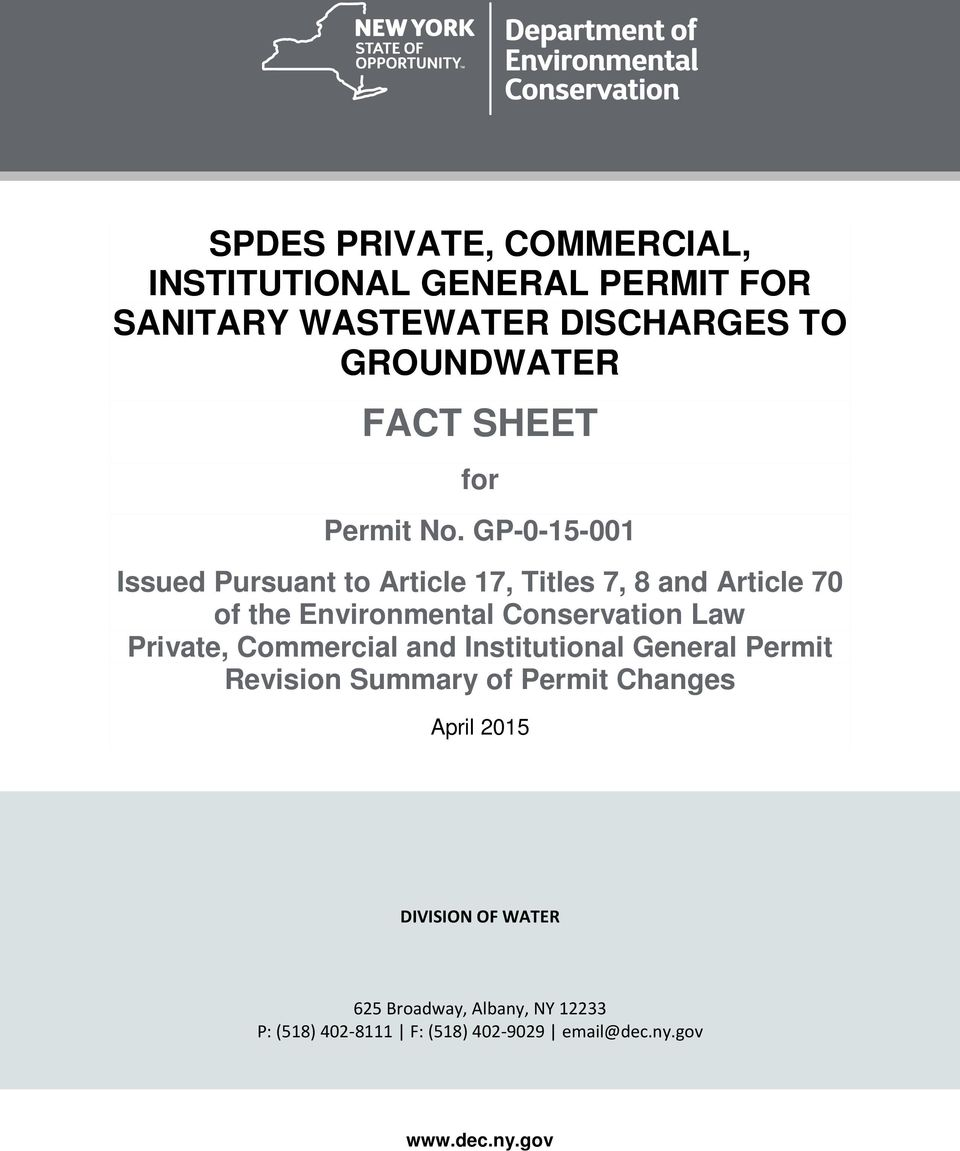 GP-0-15-001 Issued Pursuant to Article 17, Titles 7, 8 and Article 70 of the Environmental Conservation Law