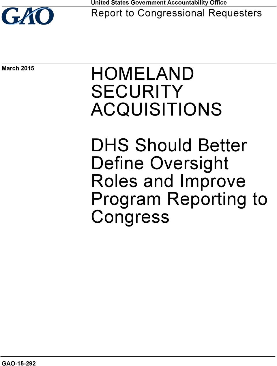 SECURITY ACQUISITIONS DHS Should Better Define