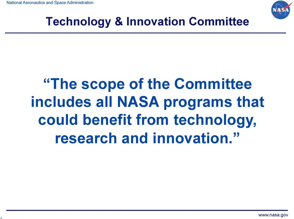 NASA programs that could benefit from