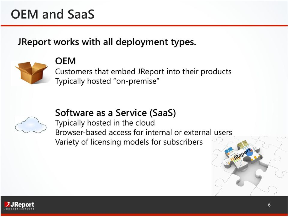 on-premise Software as a Service (SaaS) Typically hosted in the cloud