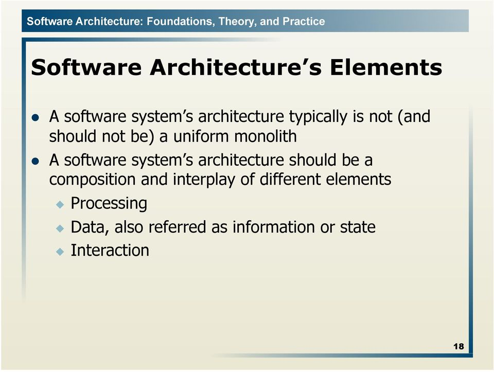 Basic Concepts  Software Architecture Lecture 3  Copyright