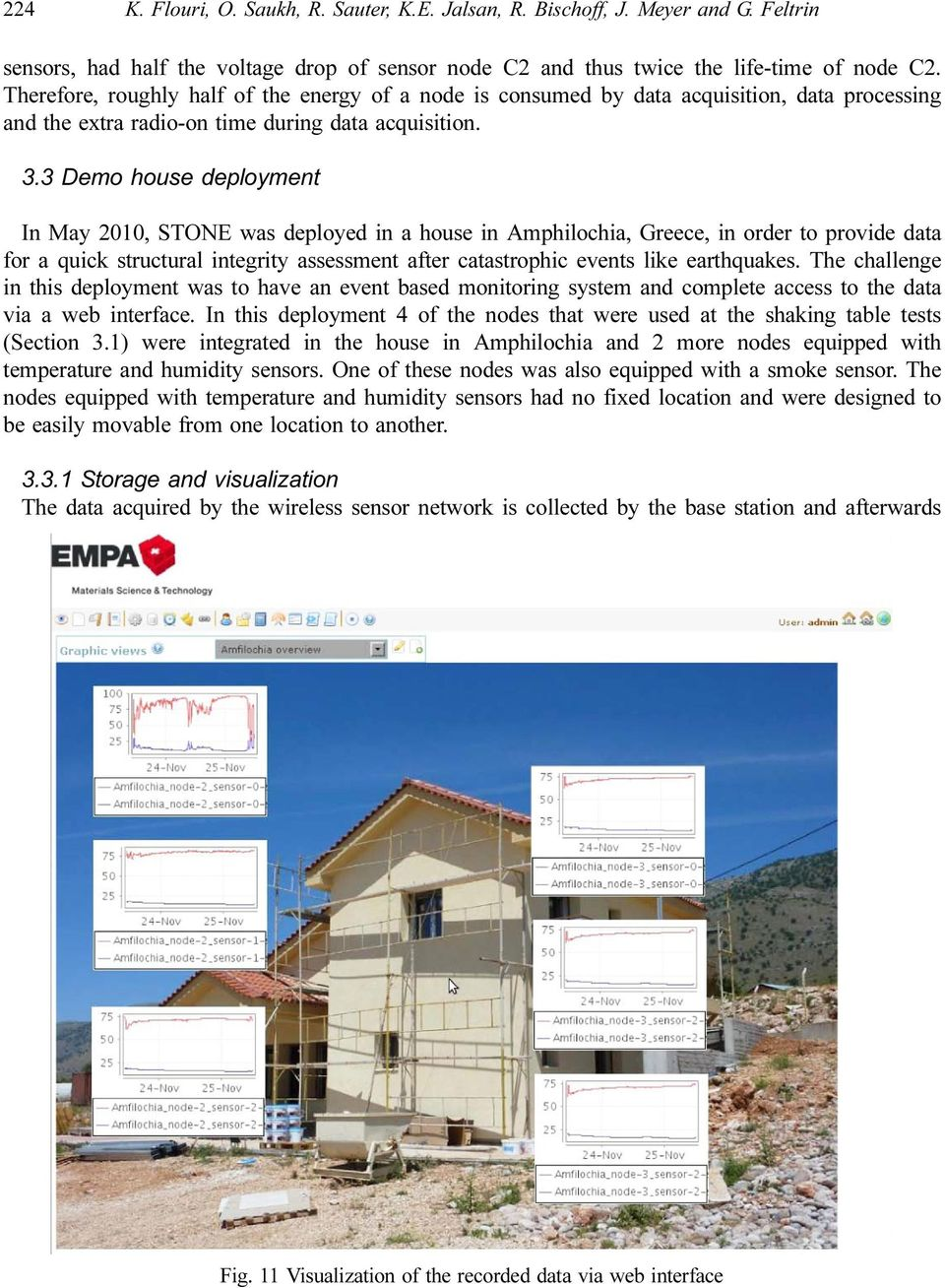 3 Demo house deployment In May 2010, STONE was deployed in a house in Amphilochia, Greece, in order to provide data for a quick structural integrity assessment after catastrophic events like