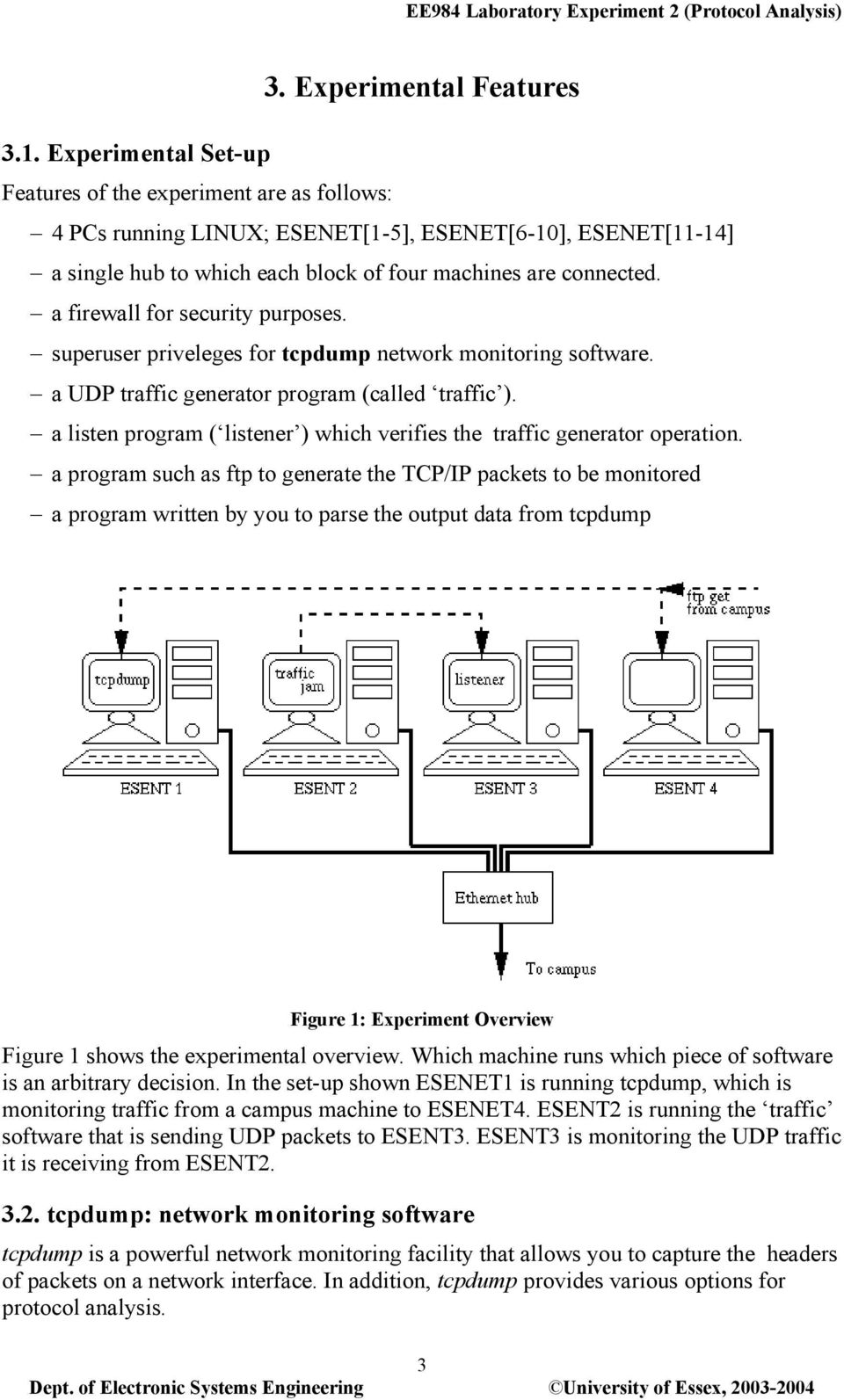 a firewall for security purposes. superuser priveleges for tcpdump network monitoring software. a UDP traffic generator program (called traffic ).