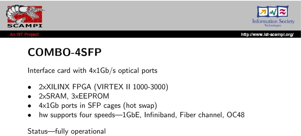 4x1Gb ports in SFP cages (hot swap) hw supports four