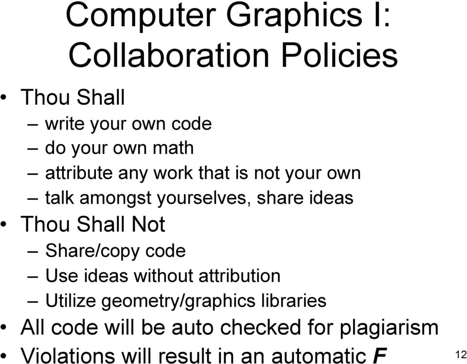 Shall Not Share/copy code Use ideas without attribution Utilize geometry/graphics