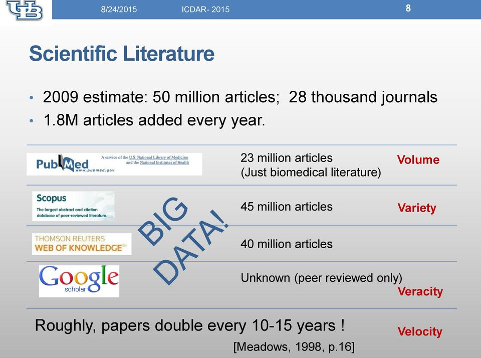 23 million articles (Just biomedical literature) Volume 45 million articles Variety 40