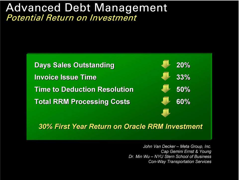 30% First Year Return on Oracle RRM Investment John Van Decker Meta Group, Inc.