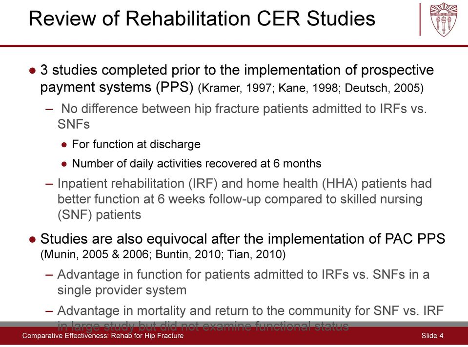 SNFs For function at discharge Number of daily activities recovered at 6 months Inpatient rehabilitation (IRF) and home health (HHA) patients had better function at 6 weeks follow-up compared to
