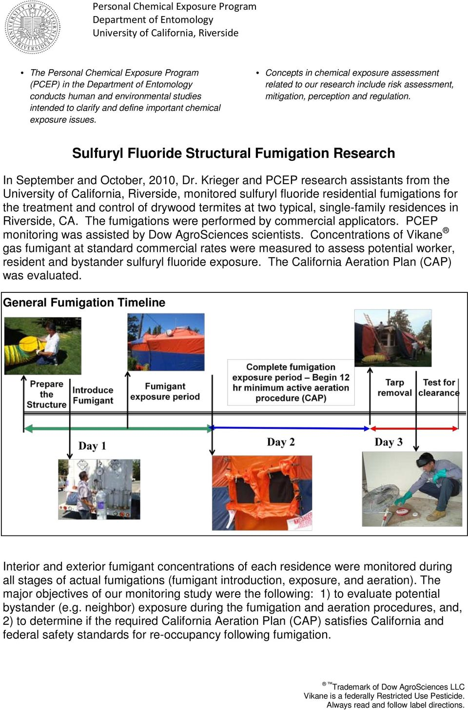 Sulfuryl Fluoride Structural Fumigation Research In September and October, 2010, Dr.
