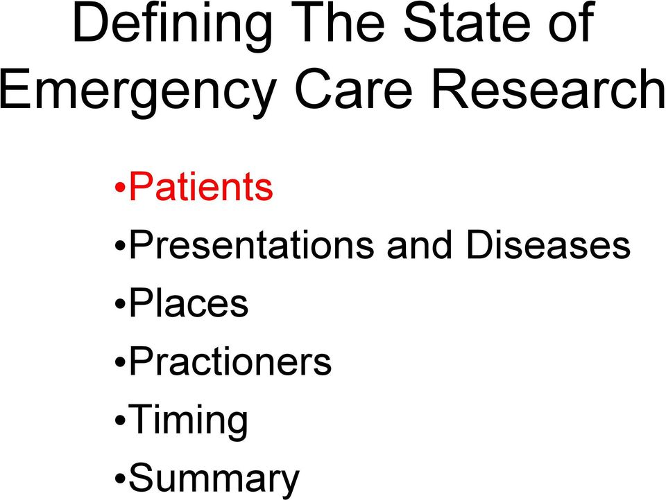 Patients Presentations and