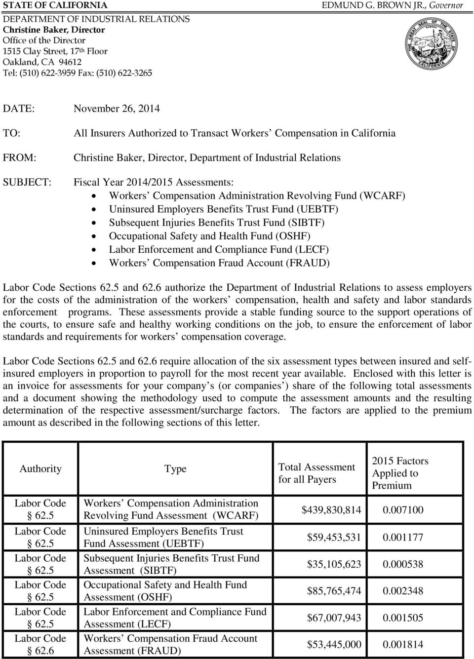 , Governor DATE: November 26, 2014 TO: FROM: SUBJECT: All Insurers Authorized to Transact Workers Compensation in California Christine Baker, Director, Department of Industrial Relations Fiscal Year