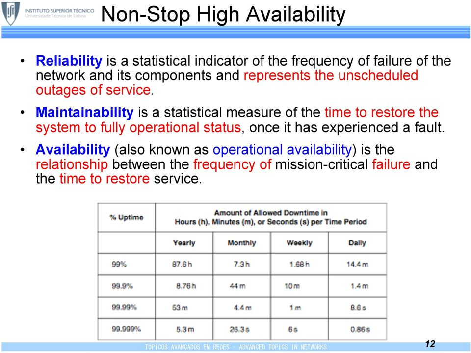 Maintainability is a statistical measure of the time to restore the system to fully operational status, once it has