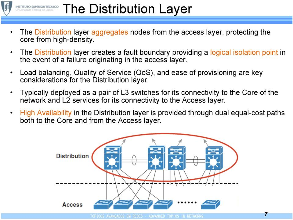 Load balancing, Quality of Service (QoS), and ease of provisioning are key considerations for the Distribution layer.