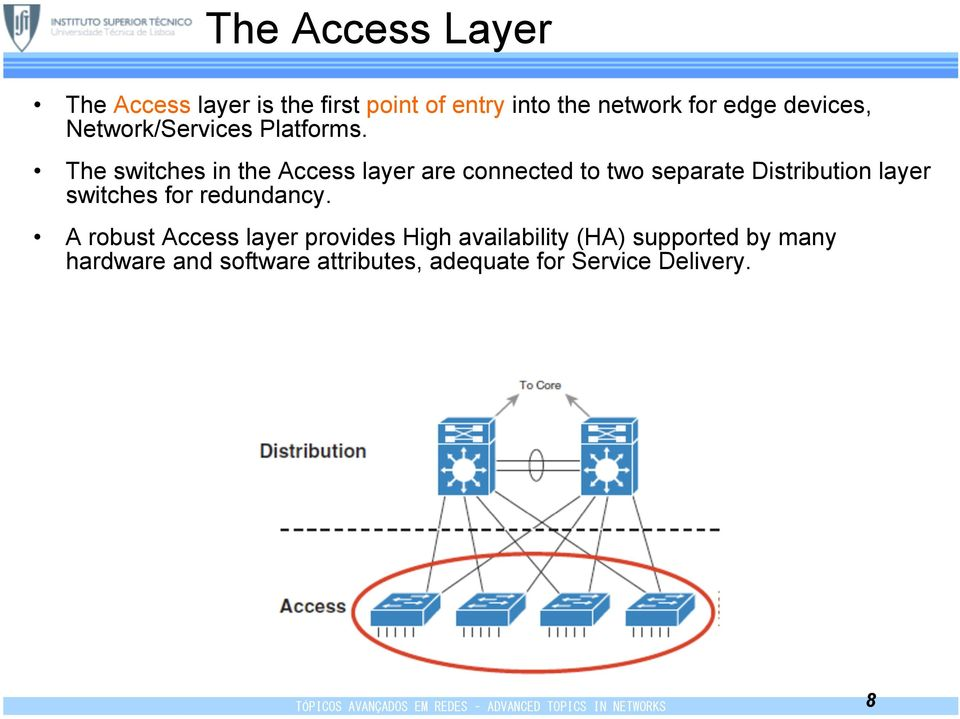 The switches in the Access layer are connected to two separate Distribution layer switches